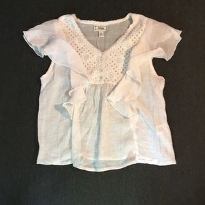 Girly fluttery white hippie embroidered thin shirt